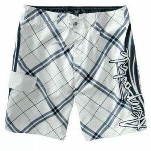 Aeropostale White Plaid Board Shorts / Swim Trunks